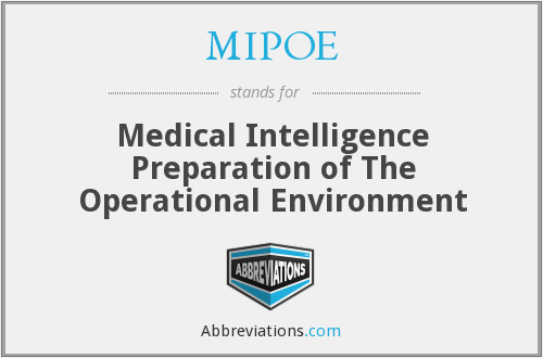 MIPOE - Medical Intelligence Preparation of The Operational Environment