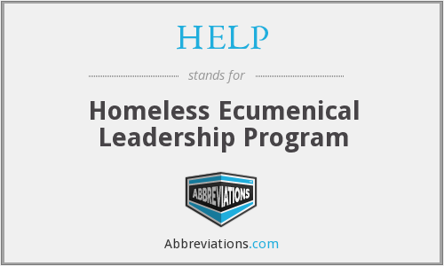 HELP - Homeless Ecumenical Leadership Program