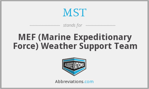 MST - MEF (Marine Expeditionary Force) Weather Support Team
