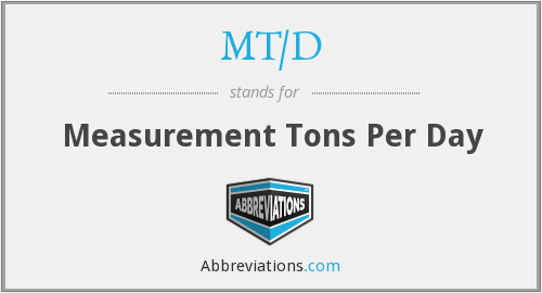 MT/D - Measurement Tons Per Day