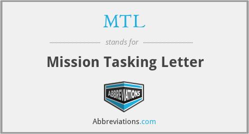 MTL - Mission Tasking Letter