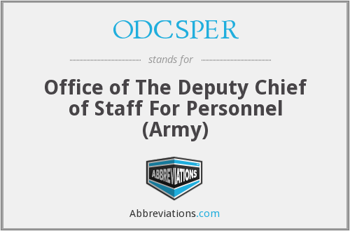 ODCSPER - Office of The Deputy Chief of Staff For Personnel (Army)