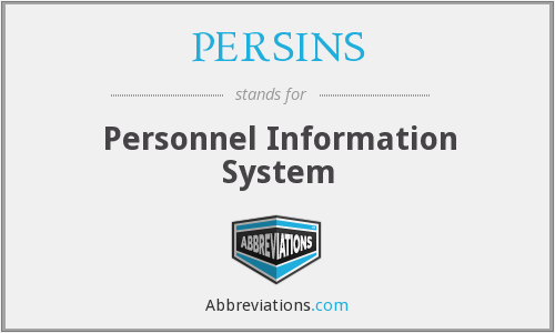 PERSINS - Personnel Information System