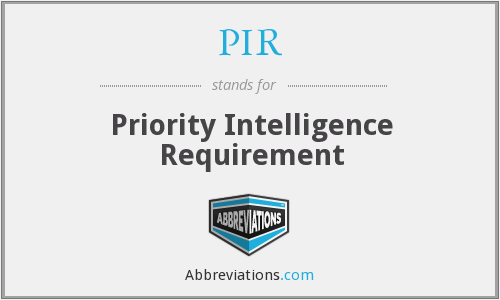 PIR - Priority Intelligence Requirement