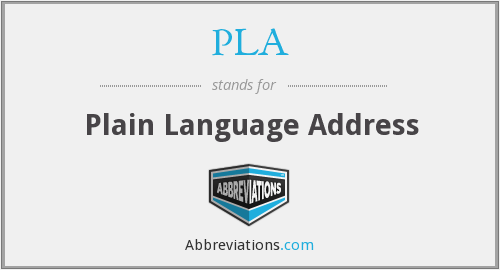 PLA - Plain Language Address