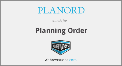 PLANORD - Planning Order
