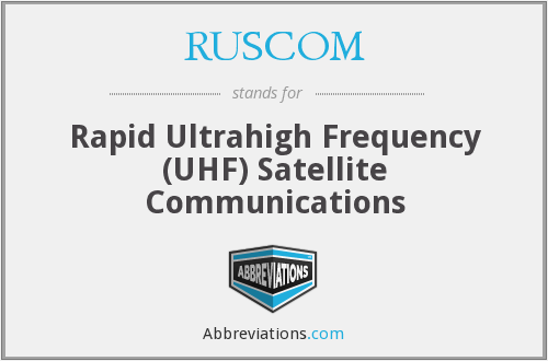 RUSCOM - Rapid Ultrahigh Frequency (UHF) Satellite Communications