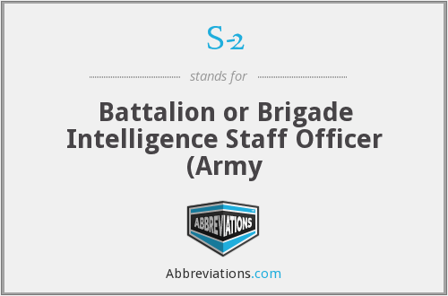 S-2 - Battalion or Brigade Intelligence Staff Officer (Army
