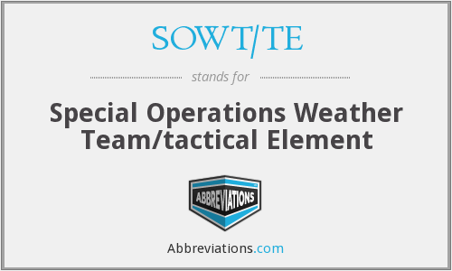 SOWT/TE - Special Operations Weather Team/tactical Element