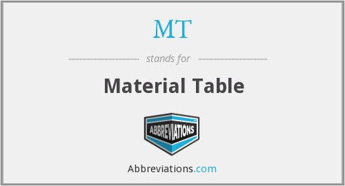 MT - Material Table