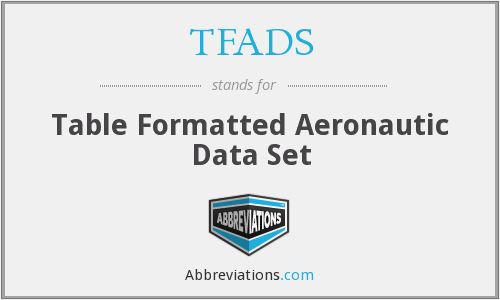 TFADS - Table Formatted Aeronautic Data Set