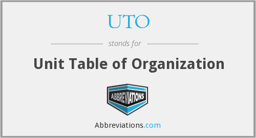 UTO - Unit Table of Organization