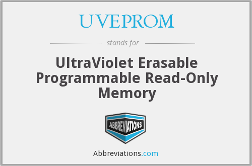 UVEPROM - UltraViolet Erasable Programmable Read-Only Memory