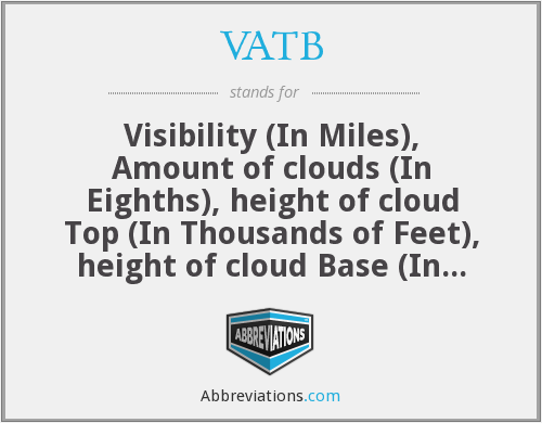 VATB - Visibility (In Miles), Amount of clouds (In Eighths), height of cloud Top (In Thousands of Feet), height of cloud Base (In Thousands of Feet)