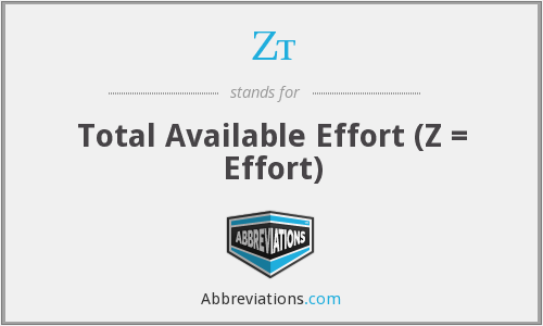 Zt - Total Available Effort (Z = Effort)