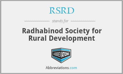RSRD - Radhabinod Society for Rural Development