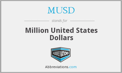 MUSD - Million United States Dollars