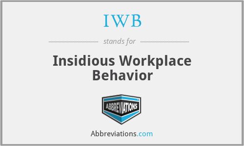 IWB - Insidious Workplace Behavior