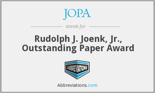 JOPA - Rudolph J. Joenk, Jr., Outstanding Paper Award