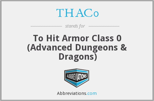 THAC0 - To Hit Armor Class 0 (Advanced Dungeons & Dragons)