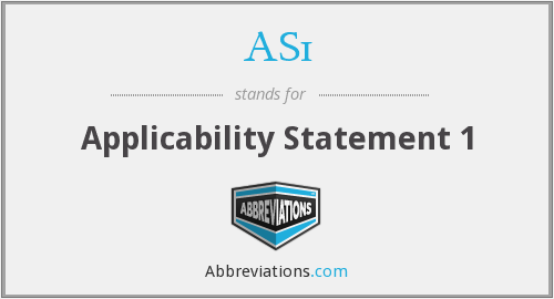 AS1 - Applicability Statement 1