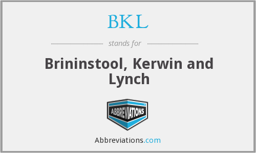 BKL - Brininstool, Kerwin and Lynch