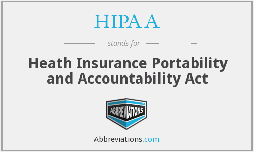 HIPAA - Heath Insurance Portability and Accountability Act