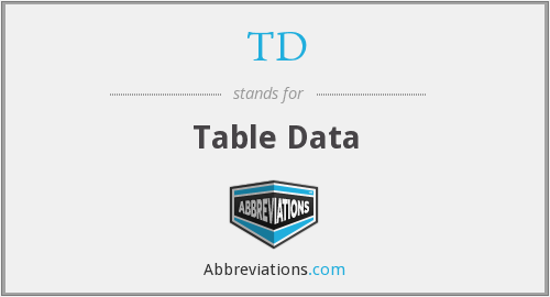 TD - Table Data
