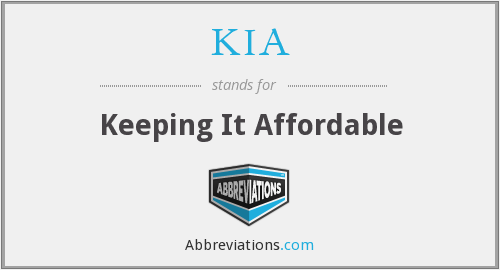 KIA - Keeping It Affordable