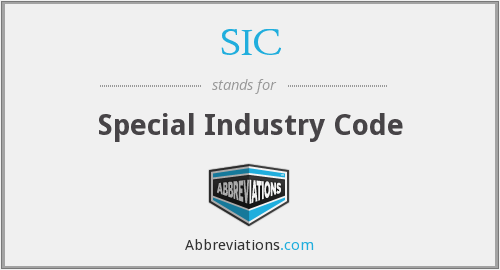 SIC - Special Industry Code