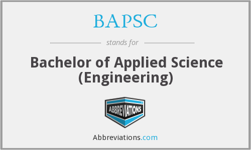 BAPSC - Bachelor of Applied Science (Engineering)