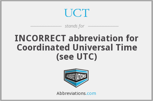 UCT - INCORRECT abbreviation for Coordinated Universal Time (see UTC)