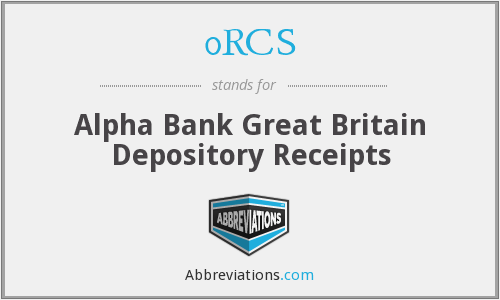0RCS - Alpha Bank Great Britain Depository Receipts