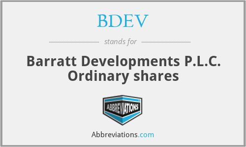 BDEV - Barratt Developments P.L.C. Ordinary shares