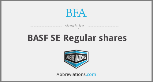 BFA - BASF SE Regular shares