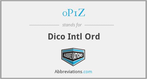0P1Z - Dico Intl Ord