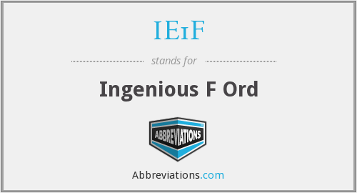 IE1F - Ingenious F Ord