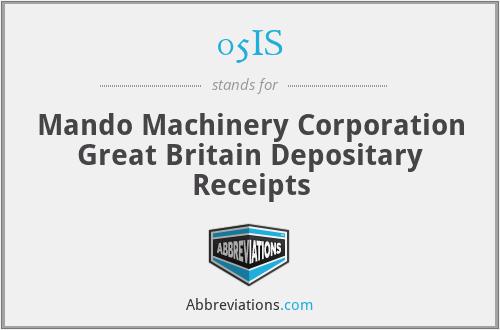 05IS - Mando Machinery Corporation Great Britain Depositary Receipts