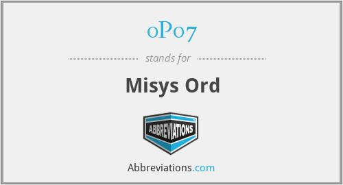 0P07 - Misys Ord