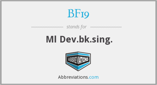 BF19 - Ml Dev.bk.sing.