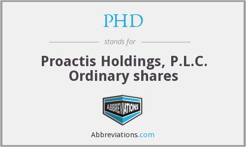 PHD - Proactis Holdings, P.L.C Ordinary shares