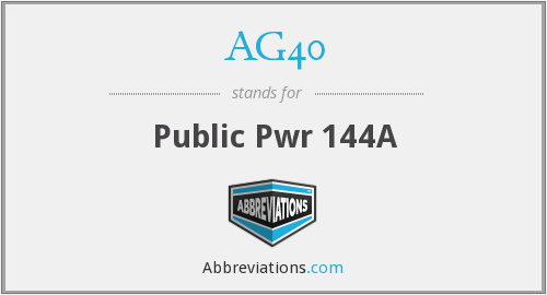 What does AG40 stand for?