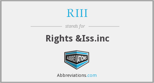 RIII - Rights &Iss.inc