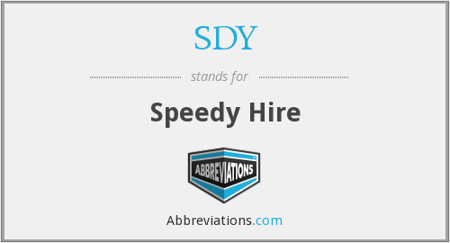 SDY - Speedy Hire