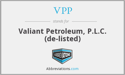 VPP - Valiant Petroleum, P.L.C.  (de-listed)