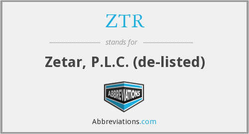 ZTR - Zetar, P.L.C.  (de-listed)