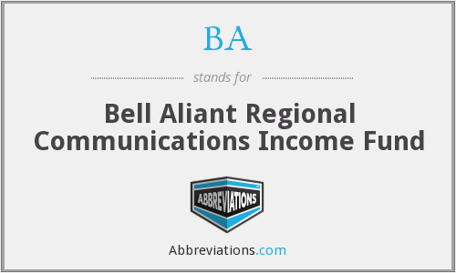 BA - Bell Aliant Regional Communications Income Fund