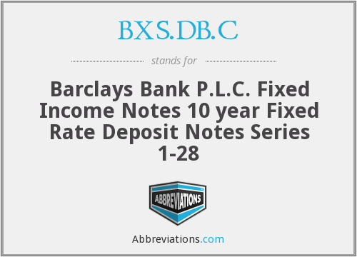 BXS.DB.C - Barclays Bank P.L.C. Fixed Income Notes 10 year Fixed Rate Deposit Notes Series 1-28