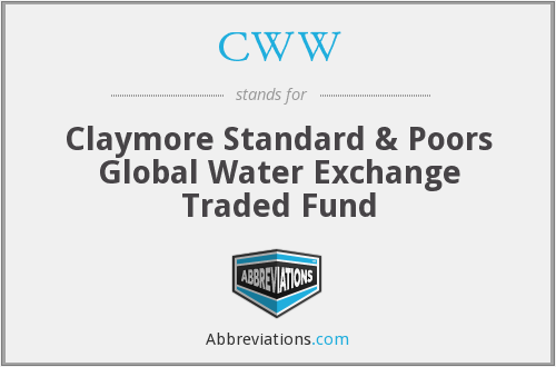 CWW - Claymore Standard & Poors Global Water Exchange Traded Fund
