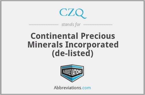 CZQ - Continental Precious Minerals Incorporated  (de-listed)